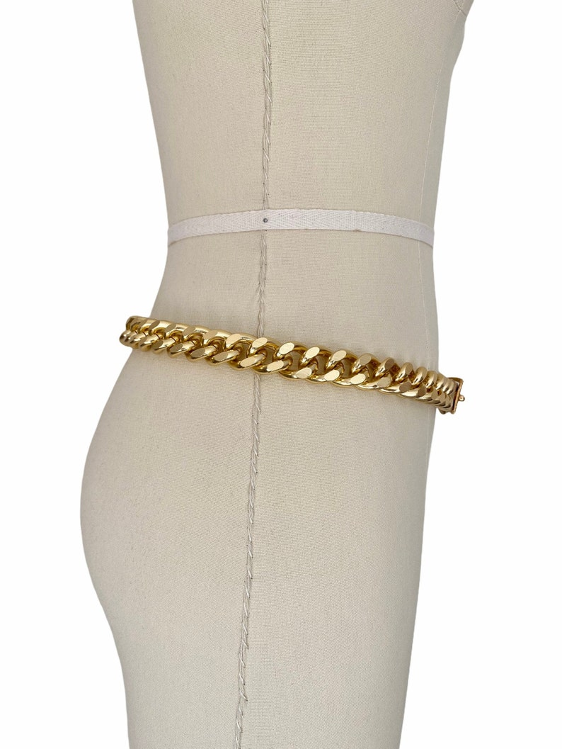 New Old Stock Gold Tone Chunky Chain Metal Waist Belt Vintage 1970s Belt