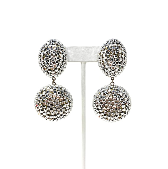 Vintage Clip Earrings, Silver Crystal Dangle Clip… - image 2