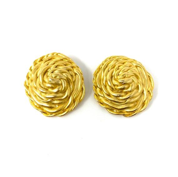 Vintage Clip Earrings, Matte Gold Rope Design Cli… - image 2