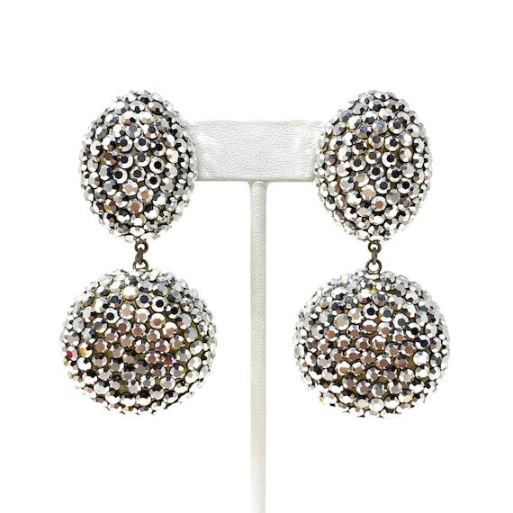 Vintage Clip Earrings, Silver Crystal Dangle Clip