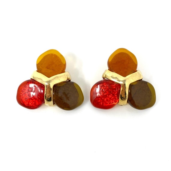 Vintage Clip Earrings, Red, Green & Orange Caboch… - image 1