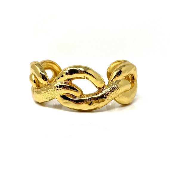 Vintage Gold Cuff Bracelet, Designer Signed Alexis