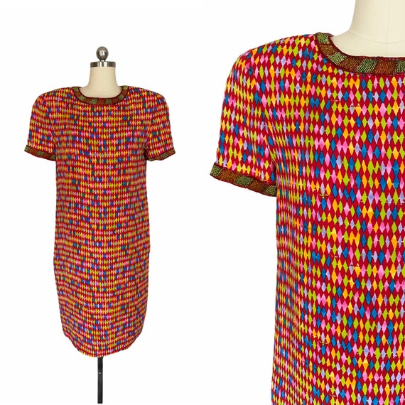 Vintage Dress, 1980s Bill Blass Colorful Neon Geom