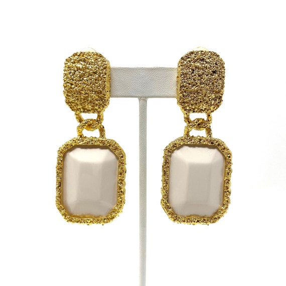 Vintage Clip Earrings, White Lucite Gold Tone Dang