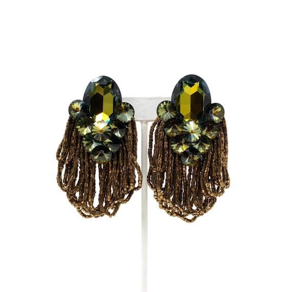 Vintage Clip Earrings, Green Watermelon Crystals &