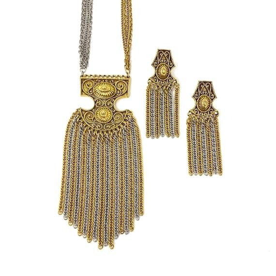 Vintage Necklace & Clip Earrings, Jewelry Set, Etr
