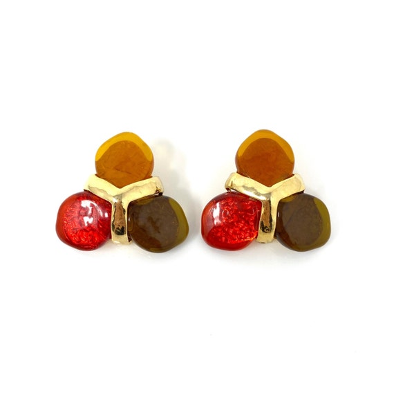 Vintage Clip Earrings, Red, Green & Orange Caboch… - image 2
