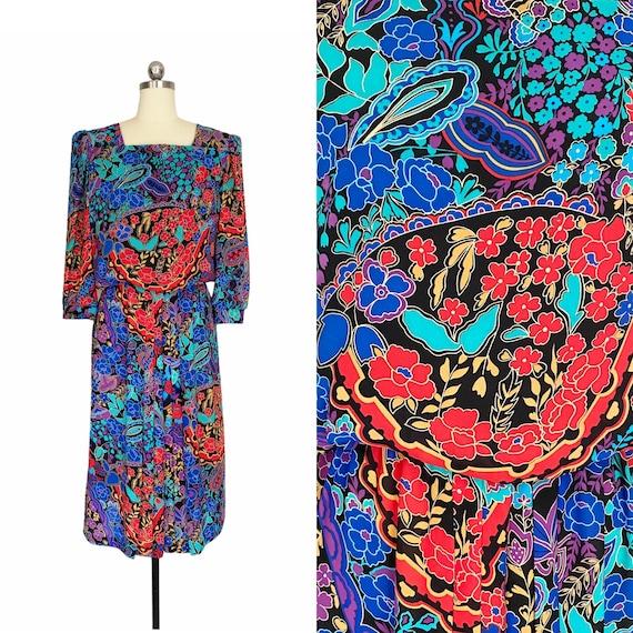 Vintage Dress, John Roberts 1980s Colorful Floral