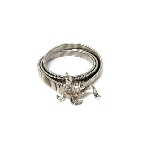 New Old Stock Waist Belt Vintage 1970s Silver Donkey Stretch Metal Belt