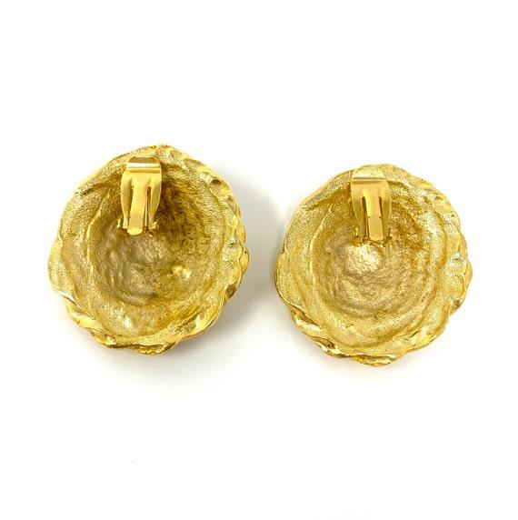 Vintage Clip Earrings, Matte Gold Rope Design Cli… - image 5