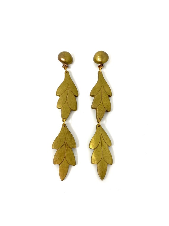 Chunky brushed goldwood dangle earrings Signed LAZULI Oversized dangle studs Maximalism statement jewelry Anniversary gift for her