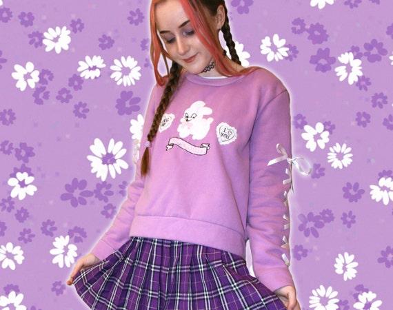 KAWAII BUNNY SWEATER // Cute Purple Rabbit Cyber P