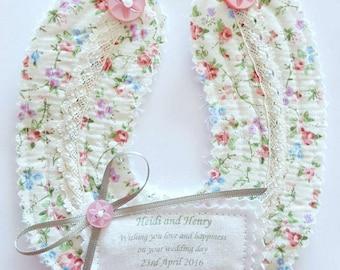 Personalised Wedding horseshoe Gift.  keepsake momento favour. Good luck gift.  Fabric horseshoe