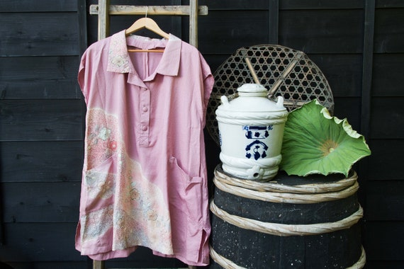 Pink Kimono Shirt, Oversized Shirt, Shirt Dress, J