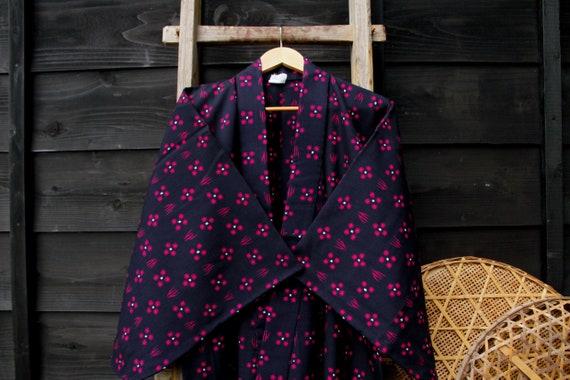 Blue Kimono Vintage Japanese Kasuri Robe, Boho Jac