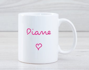 Personalised Ceramic Mug, Any Name or Message , Choice of Pink or Blue Text, Hen Party Gift, Party Favours, Birthday Present Teen