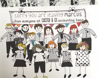 Leaving work card, From all of us card, Good luck card, New Job Card, Congratulations Card, Sorry your leaving, Personalised, Large Card