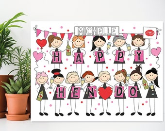 Big Hen Do Card, Hen Party, Bachelorette, Bride to Be, Good Luck Card, Personalised, Choice Skin Tones