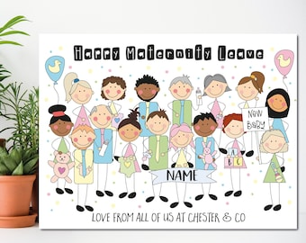 Large leaving work to have a baby card, From All of Us, Baby Shower Card, Good luck Card, Maternity Leave, Congratulations Card, A5, A4