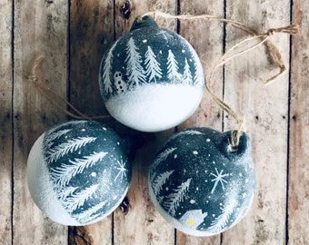 Rustic Christmas , Hand Painted Bauble, Tree Decorations, 3 Pack Ceramic, Hanging Decorations