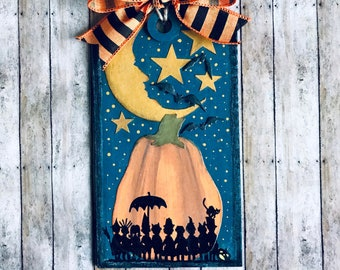 Halloween Themed Hanging Sign, Mixed Media, Home Decor