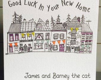 New Home Card, Personalised, Good Luck, Congratulations,  Moving House, House Warming, Whimsical Greetings Card