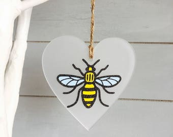 Manchester Worker Bee, Heart Hanging Frosted , Gift, Home Decor, Office , Bee Decor, Birthday, Mancunian, Present, Wedding favour, Party