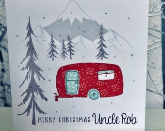 Personalised Christmas Card, Personalized Holiday Card, Camping, Caravan, Outdoors, Papercut, Card for Dad, Uncle, Auntie, Brother, Sister
