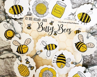 Bee Tags, Paper bees, Diecuts, Gift tags, Bullet Journal Accents, Planner Accents, Card Making, Embellishments, Manchester Bee, Bumble Bee