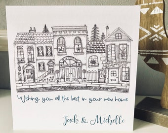 Personalised New Home Card, Good Luck, Congratulations,  Moving House, House Warming, Whimsical, illustration, Art card, Greetings Card