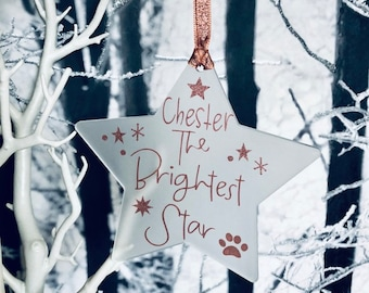 Pet Memorial Christmas Decoration, Dog, Cat, Brightest Star, Hanging Star, Tree Decoration, Sign, Personalised, Personalized , Holiday Star