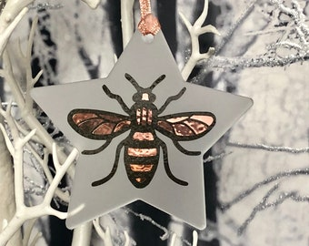 Manchester Bee, Christmas Decoration, Tree Ornament, Star, Home Decoration, Birthday Gift, Present, Bee , Hanging Decoration, Worker Bee