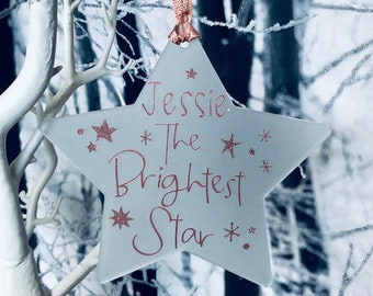 Memorial Christmas Decoration, Mum, Dad, Brightest Star, Hanging Star, Tree Decoration, Sign, Personalised, Personalized , Holiday Star