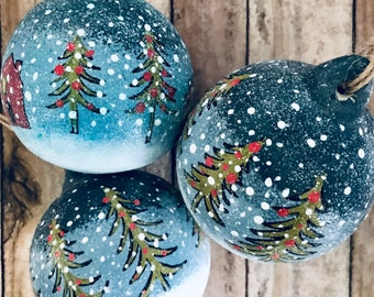 Country Christmas , Hand Painted Bauble, Tree Decorations, 3 Pack Ceramic, Hanging Decorations,