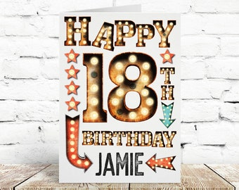 Big Sized Birthday Card, Personalised, For Him, For Her, Available in A4 or A5, 18th, 16th, 21st, 30th, 40th, 50th, 60th, 70th, 80th