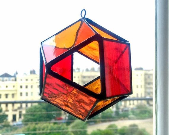 Window Ornament Dichroic Glass 3D Geometric Cube Handmade Sun Catcher