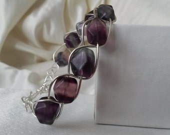 Sterling Silver Wirework bracelet with large faceted fluorite beads
