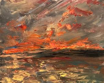 Sunset Seascape Oil Painting