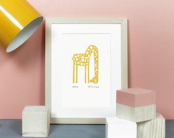 Giraffe   Linoprint, linocut, linoleum, print, poster, bug, ladybird, girl, art, artprint, original, limited edition, knallbraun, A5