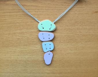 4 Piece Summer Pastels Sea Pottery Pendant Necklace