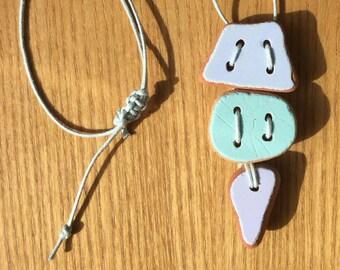 3 Piece Summer Pastels Sea Pottery Pendant Necklace