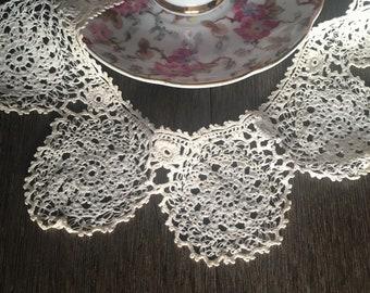 100% True Vtg White Baby Bib Crochet Collar Yolk Inset Handmade Collars & Cuffs Lace, Crochet & Doilies