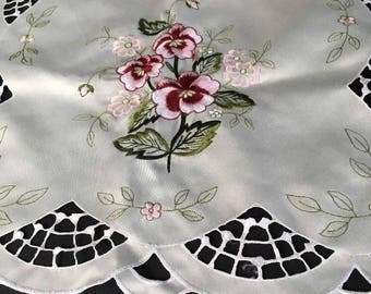 Vintage White Embroidered Viscose Runner with Pansies