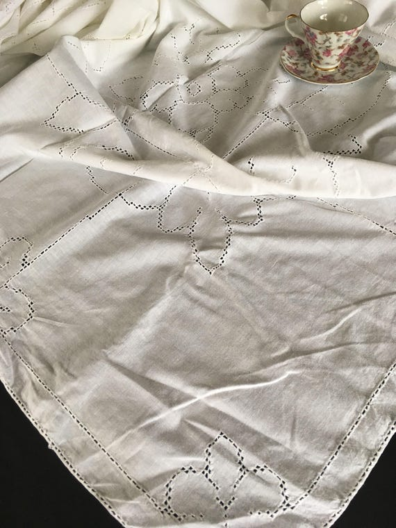Vintage Handmade White Cotton Tablecloth W/ Pulled Thread Work | Etsy