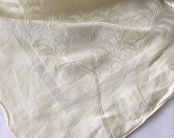 Vintage Mid Century Yellow Damask Linen Tablecloth