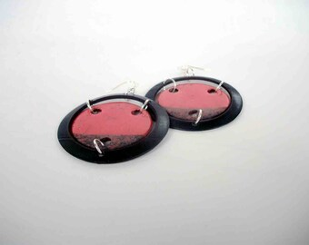 earrings ceramic raku and vinyl - red records - europeanstreetteam