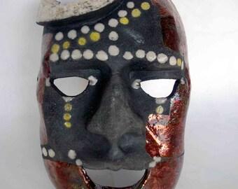 Male mask raku ceramic - europeanstreetteam OOAK