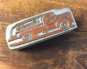 Vintage Letterpress Stamp Wood Block Advertising Fuel Gas Truck Amendola