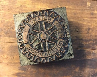Vintage Letterpress Stamp Wood Metal Block Rotary International 1.5 Inch Square