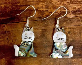 Vintage Alpaca Cat Dangle Earrings Inlay Abalone Mother Of Pearl